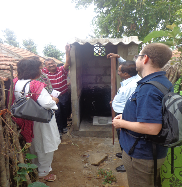 Raleigh International  visit toilet stucture constructed under water & sanitation project