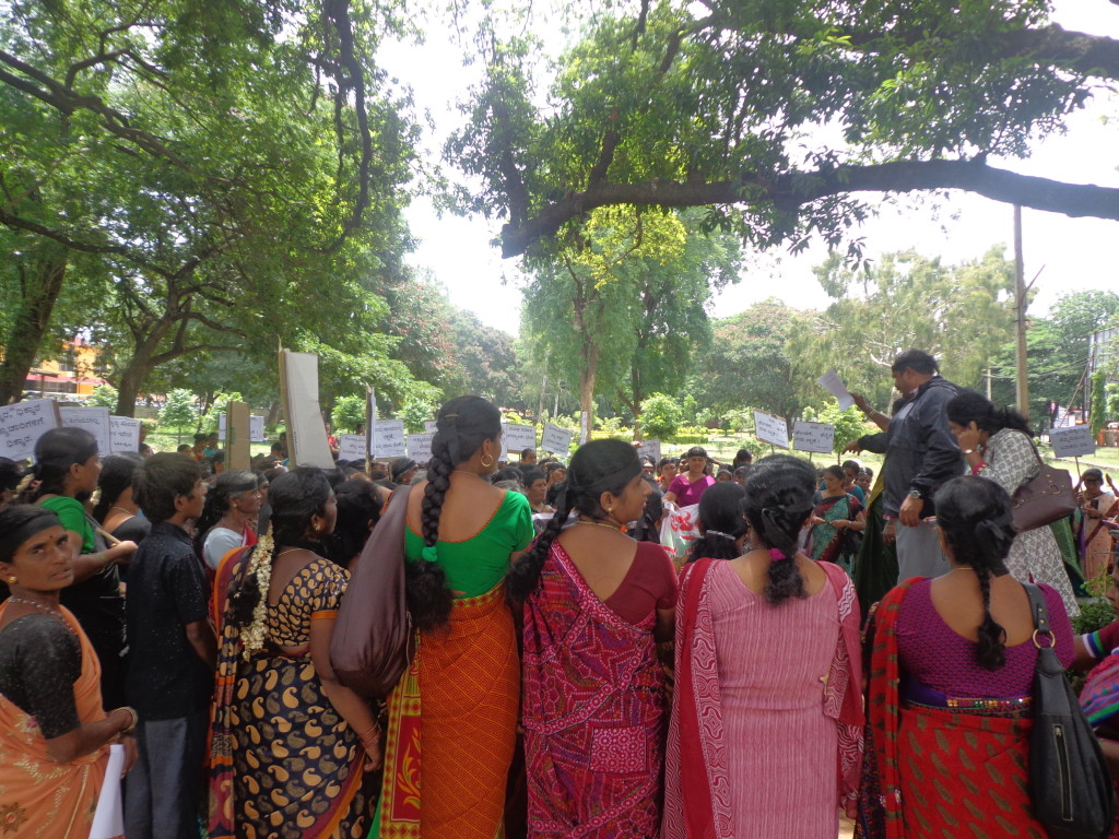 Women gathering in silent protest rally against sexual asult at DC Office  Mandya on 24.07.2014