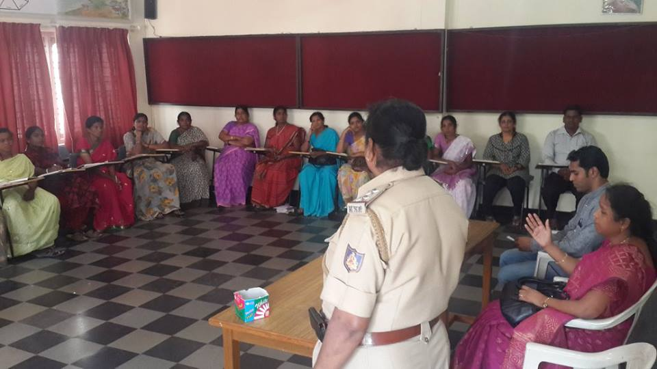 Mrs. Devamma, Sub inspector & Mrs. Radha, Deputy Director, Women and Child Welfare Department, Mysore orienting SHG leaders on Women police station & santhwana Kendra to SHG leaders