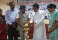 Rev. Fr. StaneyD'Almeda, Director of ODP addressing the social work student forum organized by department of studies in social work – Manasagangothri, Mysuru, under research and development program (R&D)