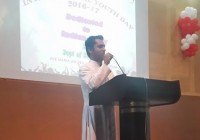 Rev. Fr. StaneyD'Almeda, Director of ODP addressing the International Youth Day 2016-17 at Teresian College, Mysuru, on the importance of youth in nation building